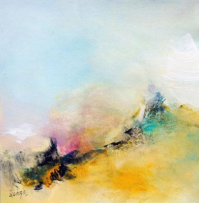 """""""Brume solaire"""" pigments et acrylique sur toile 25 X 25"""
