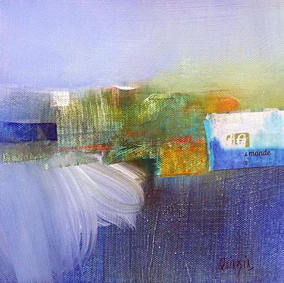 """""""L'étang attend la pluie"""" collage, pastels et acrylique sur toile 19 x 19"""