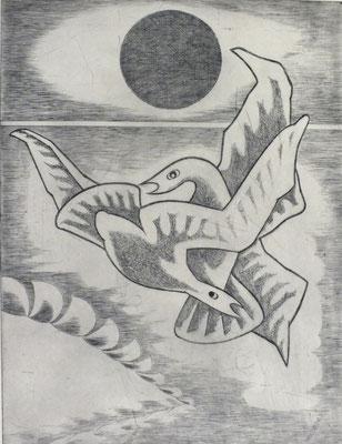 Vogelpaar  1977  30 x 39,5 ( Ätz )      ( 2 )