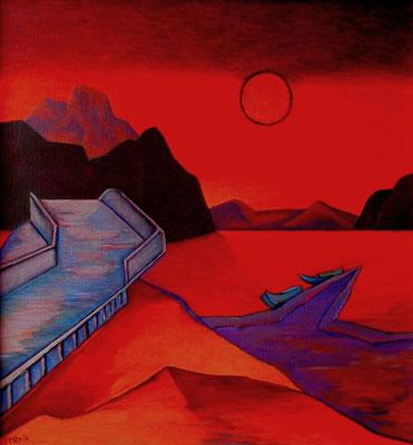 Abendlandschaft mit Brücke  2004  88 x 90