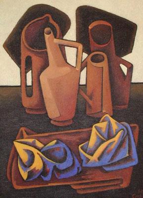 Stillleben mit Krügen  1986  78 x 105