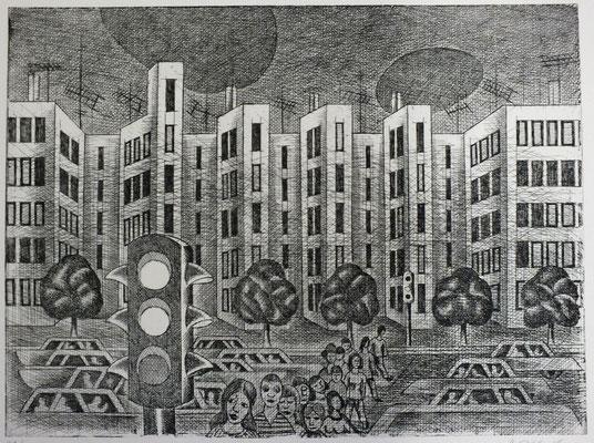 Straße  1976  39,5 x 29,5 ( Ätz )       ( 2 )