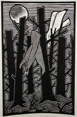 Toter Wald mit Vögel  1983  39 x 60           Platte venichtet
