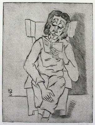 Lesende im Sessel  1982  30 x 39