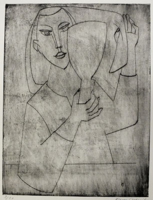 Mädchen mit Spiegel  1957  22,5 x 29,5