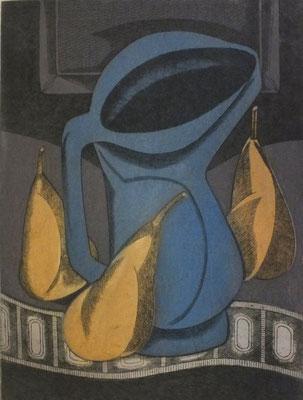 Stillleben mit blauen Krug und Birnen  1977  30 x 39,5 ( Ätz )