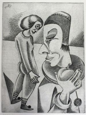 Clown mit Apfel  1982  29,5 x 39,5
