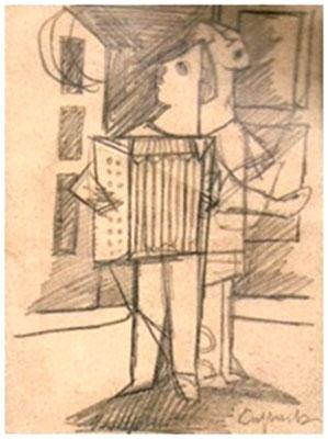 Straßenmusikanten  1954  15 x 19,5 ( Blei )