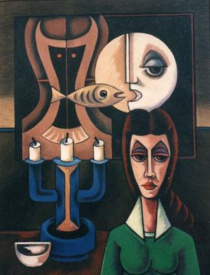 Frau mit Mond und Fisch  1988    83 x 100