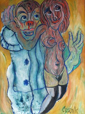 Clown und Tänzerin  2010  75 x 100