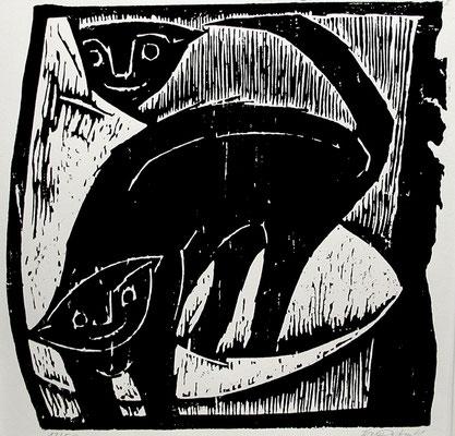 Katzen  1962  43 x 43        Platte vorhanden