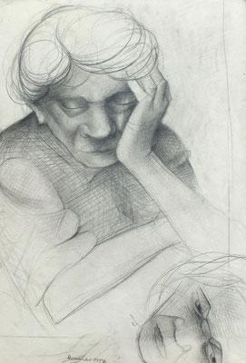 Studie Tante Mina  1947  31 x 46 ( Blei )