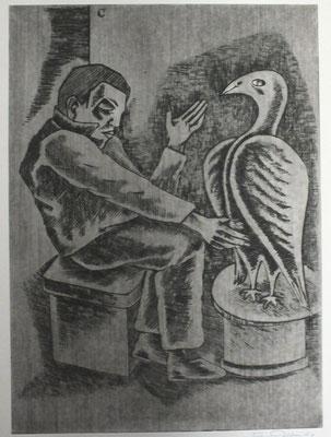 Alter Mann vor Vogel  1990  29,5 x 40,5