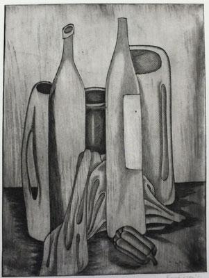 Flaschen Stillleben  1985  30 x 39,5             ( 5 )
