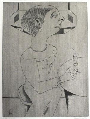 Rauchende am Tisch  1996  29,5 x 39,5