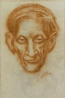 Alter Mann aus Altersheim II  1947  23 x 35 ( Kreide )