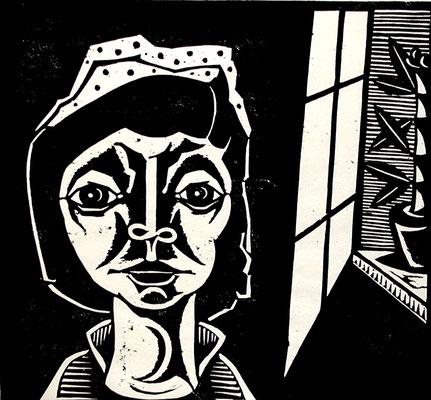 Frau mit Mütze  1998  47 x 45             Platte vorhanden