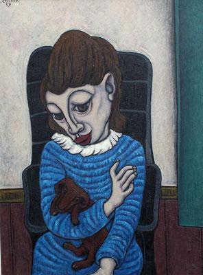 Alte Frau mit Hund  1959  81 x 110