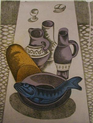 Stillleben mit blauen Fisch  1977  30 x 39,5 ( Ätz )