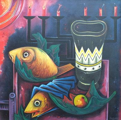 Fische und Leuchter  1973  98 x 98