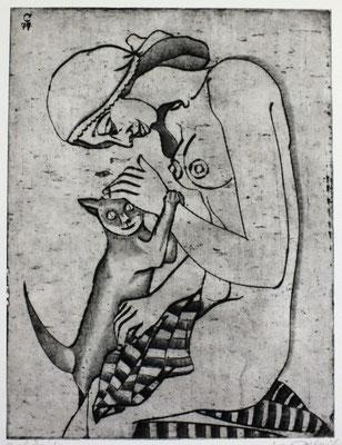 Frau mit Katze  1979  29,5 x 39