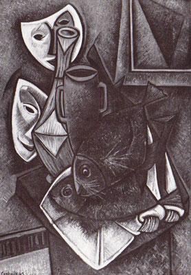 Fische und Masken  1961    119 x 82   Eigentum Stadt Thias/Paris
