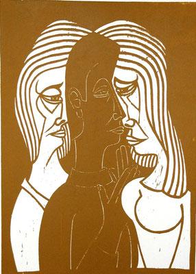 Mann zwischen zwei Frauen  1993  45 x 62