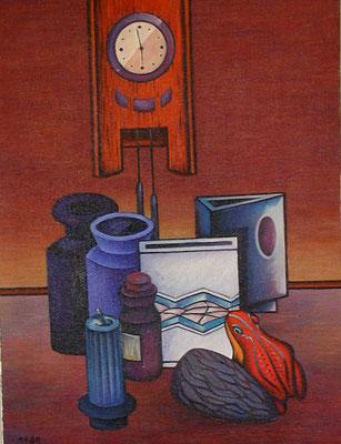 Stillleben mit Wanduhr  1980  75 x 100
