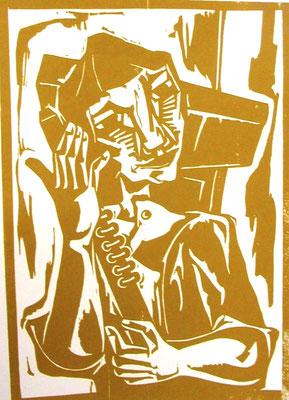 Mädchen mit Flöte  1965  47 x 65