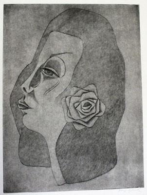 Frauenkopf mit Blume ( Hanna )  1992  29,5 x 39,5