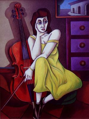 Cello Spielerin  I  1990    84 x 114