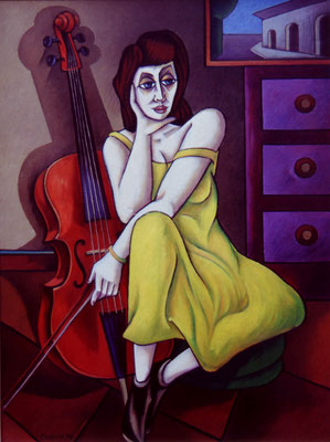 Cello Spielerin  I  1990    84 x 114