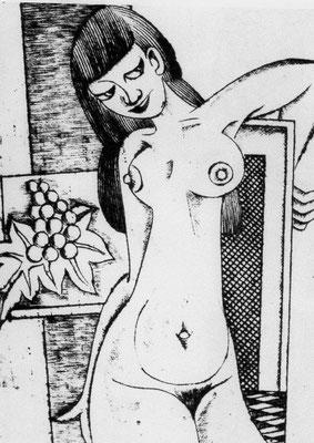 Mädchenakt mit Trauben  1977    14,5 x 18