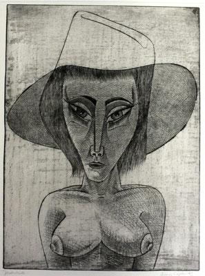 Akt mit großem Hut  1983  29,5 x 39,5