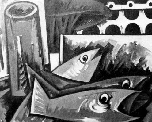 Bild mit Fischen ( Ischia )  1970