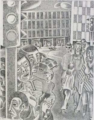 Ampel  1977  30 x 39,5 ( Ätz )