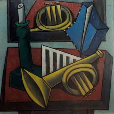 Stillleben mit Trompete  1956  80 x 80