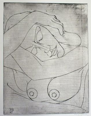 Schlafende ( Halbakt )  1978  37,5 x 48