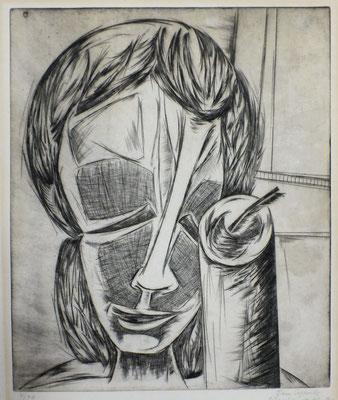 Mädchenkopf mit Kerze  1963  41 x 48,5