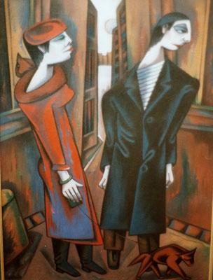Jüdische Paar mit Hund  ( Emigranten )  1981    80 x 110