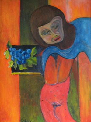 Mädchen mit Traube  2009  75 x 100