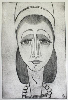 Frau mit Perlenkette  1979  36 x 54,5