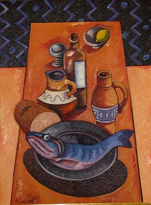 Stillleben mit großem Fisch  1981  75 x 100