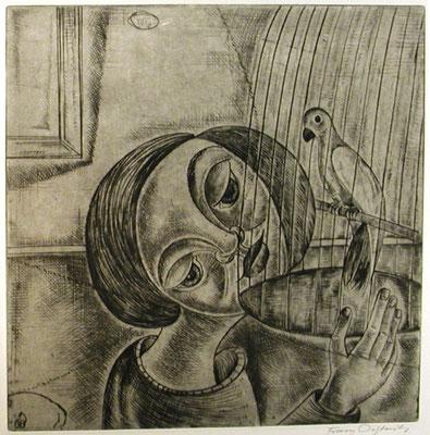 Kind und Vogelkäfig  1960  29 x 30           ( 8 )
