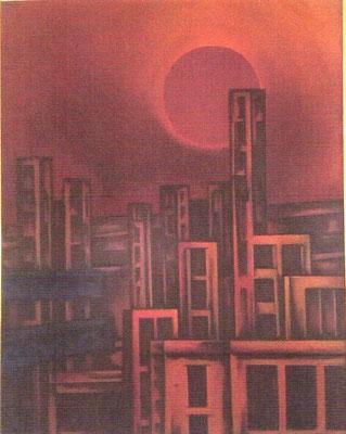 Stadt mit dunkler Sonne ( Tote Stadt )  1969    100 x 125