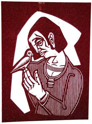 Frau mit Vogel  1983  45 x 60       Platte vorhanden