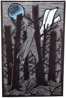 Toter Wald mit Vögel  1983  39 x 60
