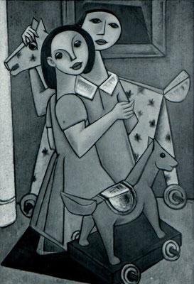 Kinder mit Schaukelpferd  1956    80 x 120