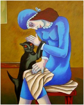 Frau mit Katze  1998  90 x 120