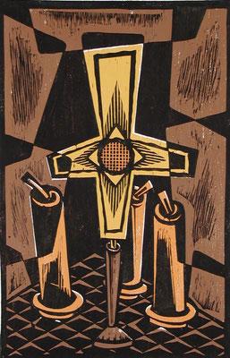 Stillleben mit Kreuz  1986  39 x 60        Platte vorhanden